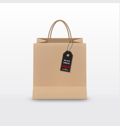 black friday sale realistic brown paper shopping vector image