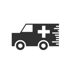 Black icon on white background ambulance with a vector