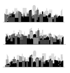 black random city skyline vector image