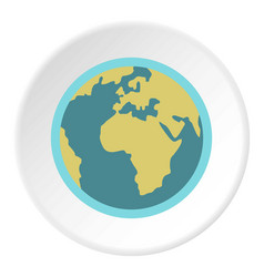blue planet earth icon circle vector image