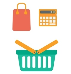 Calculator shopping basket and bag vector image