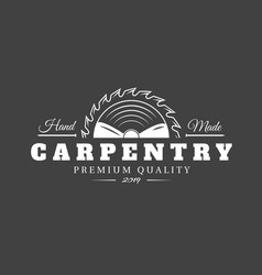 Carpentry label isolated on black background vector