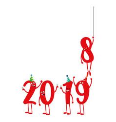 cartoon 2019 numbers design vector image