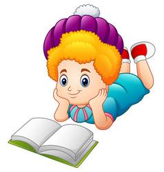 cartoon happy girl reading book vector image