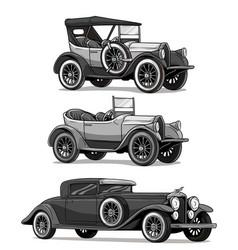 Cartoon retro vintage luxury convertible cars vector