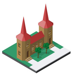 castle and trees in isometric view vector image