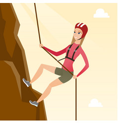 caucasian woman climbing a mountain with rope vector image