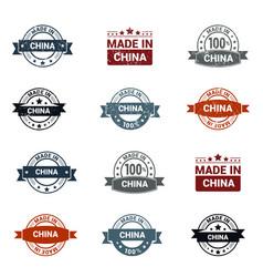 china stamp design set vector image