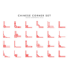 chinese corner set in vintage style on white vector image
