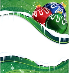 Christmas balls decoration on a green background vector image