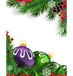 Christmas tree decorations with green ribbon vector