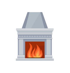 Classic stone fireplace with fire vector