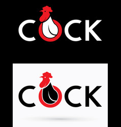 cock text and head cock vector image