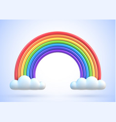 colorful rainbow with clouds 3d vector image