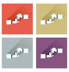Concept of flat icons with long shadow hands vector