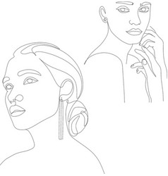 continuous line drawing set faces and vector image