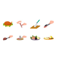 cooking food icons in set collection for design vector image