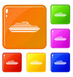 cruise ship icons set color vector image