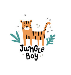 Cute tiger and hand lettering text vector