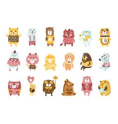 cute toy bear animals set childish stylized vector image