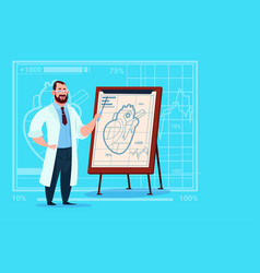 doctor cardiologist over flip chart with heart vector image