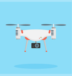 Drone with a camera taking photography or video vector