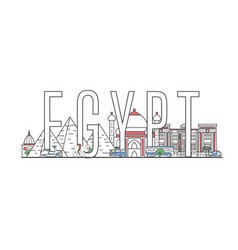 Egypt travel lettering in linear style vector