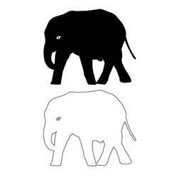 Elephant silhouette outline icon eps set vector
