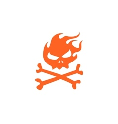 fire skull and bones vector image