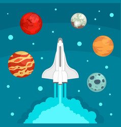 Fly space ship concept background flat style vector