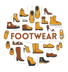 Footwear Line Art Thin Icons Set with Shoes vector