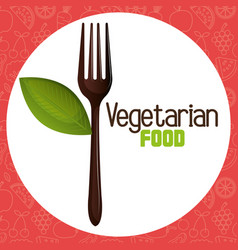 fork cutlery with leaf vegetarian food vector image