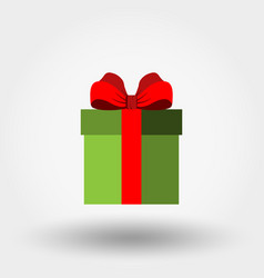 gift box with red bow icon vector image