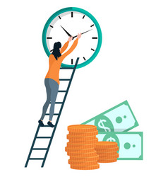 Girl winds clock coins and dollars vector