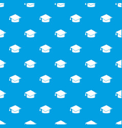 Graduation cap pattern seamless blue vector