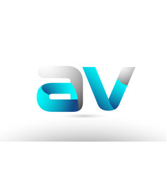 Grey blue alphabet letter av a v logo 3d design vector