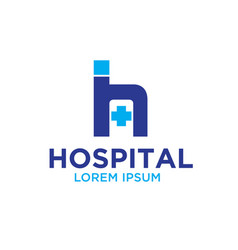 h hospital logo designs vector image