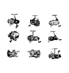 Hand drawn highly detailed fishing reel vector
