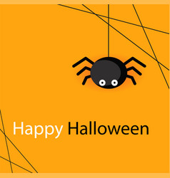 happy halloween spider web and spider orange backg vector image