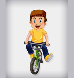 Happy muslim boy riding bicycle vector