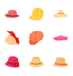 headpiece icons set cartoon style vector image