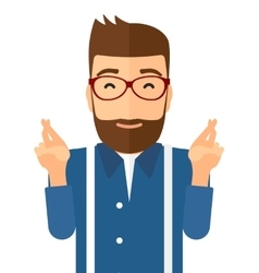 Hopeful hipster man with the beard vector image