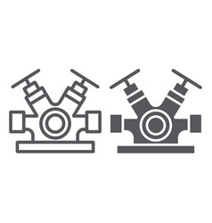 hydrant system line and glyph icon equipment and vector image