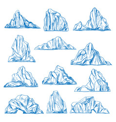 Icebergs sketch or hand drawn mountains vector
