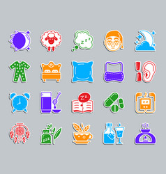 insomnia patch sticker icons set vector image