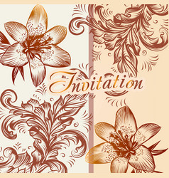 invitation card with lily flowers in retro style vector image