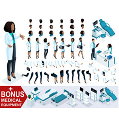 isometric woman doctor african american create vector image