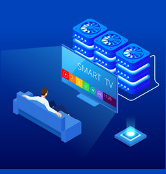 isometric young man suiting on sofa watching vector image