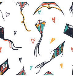 kites hand drawn background vector image