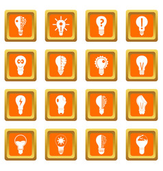 Lamp logo icons set orange vector
